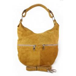 Klasyczny worek na ramię ,zamki suwaki XL A4 Shopper bag zamsz naturalny camel W345C