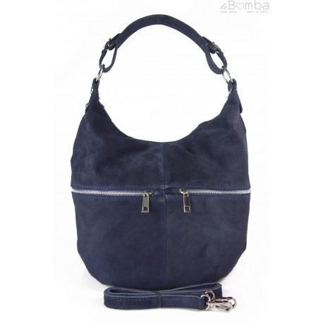 Klasyczny worek na ramię ,zamki suwaki XL A4 Shopper bag zamsz naturalny granatowy W345BS