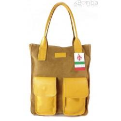 Duży worek ,pojemna torba ,kieszenie żółty z camelem BYC88GC