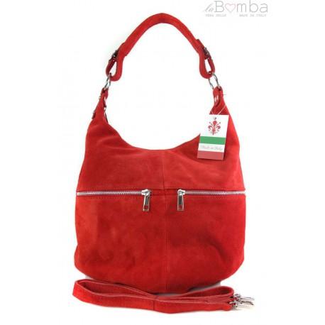 Klasyczny worek na ramię ,zamki suwaki XL A4 Shopper bag zamsz naturalny czerwony W345R