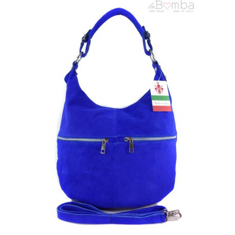 Klasyczny worek na ramię ,zamki suwaki XL A4 Shopper bag zamsz naturalny chabrowy W345BT