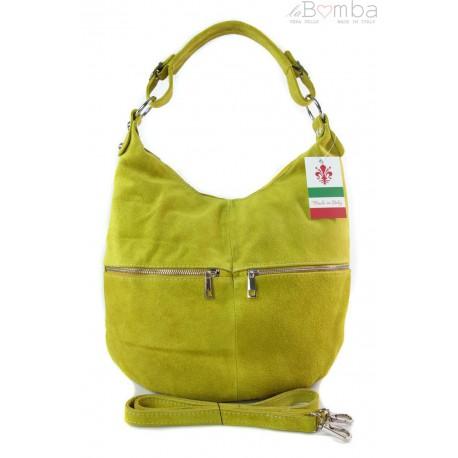 Klasyczny worek na ramię ,zamki suwaki XL A4 Shopper bag zamsz naturalny żółta W345GL2