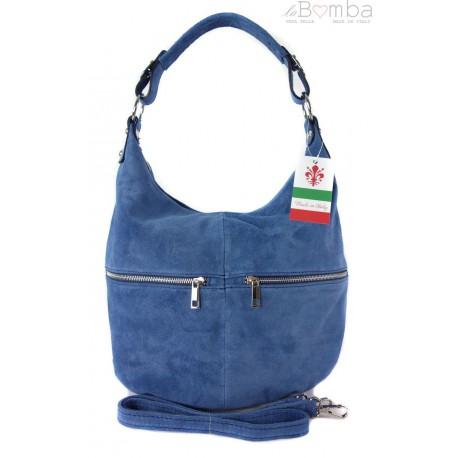 Klasyczny worek na ramię ,zamki suwaki XL A4 Shopper bag zamsz naturalny blue jeans W345BBJ