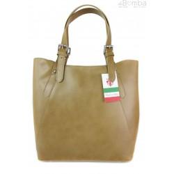 Włoska torebka skórzana na ramię ,Vera Pelle A4,shopper Beżowa V77T