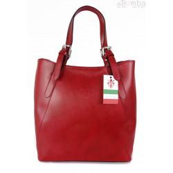 Włoska torebka skórzana na ramię ,Vera Pelle A4,shopper Czerwona V77R