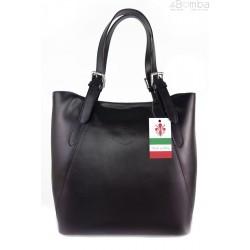 Włoska torebka skórzana na ramię ,Vera Pelle A4,shopper Czarna V77N
