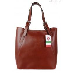 Włoska torebka skórzana na ramię ,Vera Pelle A4,shopper Brązowa V77M