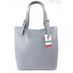 Włoska torebka skórzana na ramię ,Vera Pelle A4,shopper Szara V77G1
