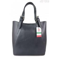 Włoska torebka skórzana na ramię ,Vera Pelle A4,shopper Szara, Grafit V77G