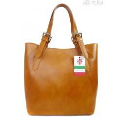 Włoska torebka skórzana na ramię ,Vera Pelle A4,shopper Camel V77C