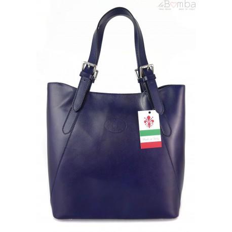 Włoska torebka skórzana na ramię ,Vera Pelle A4,shopper bag Granatowa V77BS