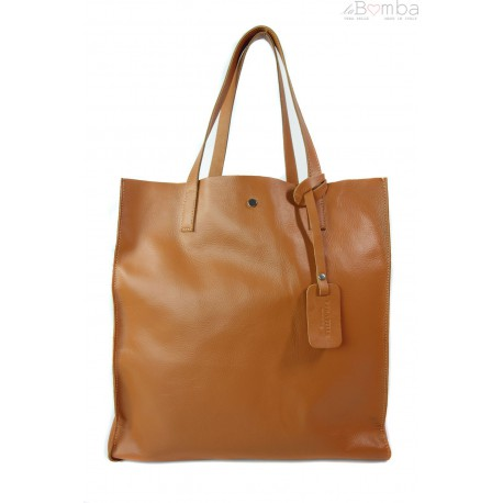TOREBKA WOREK SHOPPER BAG GENUINE LEATHER NA RAMIĘ A4 CAMEL GL46C