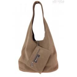 Worek zamszowy Shopper Bag , Włoska skórzana torba XL A4 Beż ciemny W456TT2