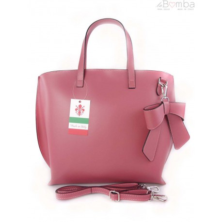Włoska torba A4 Shopper Bag Vera Pelle Fuksja SB689FX