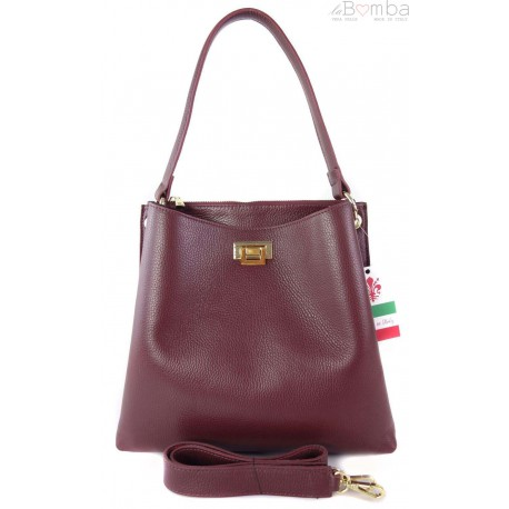 Włoska torebka na ramię ,pojemna ,przegrody,złote okucia ,Bordowa V375R