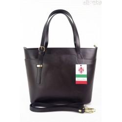 Włoska skórzana torebka na ramię Vera Pelle ,złote okucia,format A4, czarna GL55N
