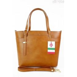 Włoska skórzana torebka na ramię Vera Pelle ,złote okucia,format A4, camel GL55C