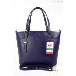 Włoska skórzana torebka na ramię Vera Pelle ,złote okucia,format A4, Granatowa GL55BS