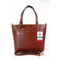 Włoska skórzana torebka na ramię Vera Pelle ,złote okucia,format A4, Brązowa GL55M