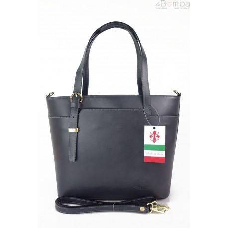 Włoska skórzana torebka na ramię Vera Pelle ,złote okucia,format A4, Szara GL55G
