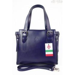 Włoska torebka skórzana, kuferek mieści A4 ,Vera Pelle ,Granatowa V884BS