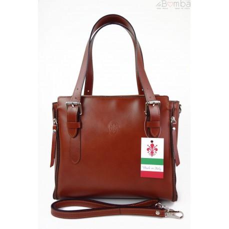 Włoska torebka skórzana, kuferek mieści A4 ,Vera Pelle ,Brązowy V884M