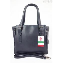 Włoska torebka skórzana, kuferek mieści A4 ,Vera Pelle ,Szary V884G