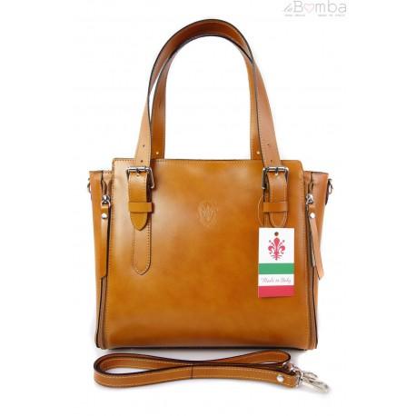 Włoska torebka skórzana, kuferek mieści A4 ,Vera Pelle ,Camel V884C