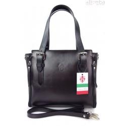 Włoska torebka skórzana, kuferek mieści A4 ,Vera Pelle ,Czarny V884N