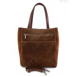 Shopper bag Vera Pelle gruby zamsz aksamitny pojemny worek na ramię Brązowa SV55M