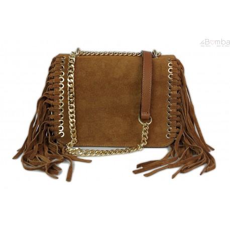 Piękna duża listonoszka A5 frędzle ,złoto ,dzety ,łańcuch skóra zamsz z dollaro camel VPZ88C
