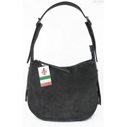 Włoska skórzana torebka worek na ramię Vera Pelle ,,format A4, Szara LBB53G