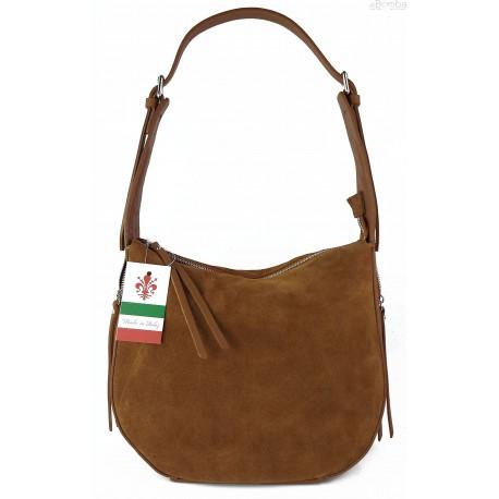Włoska skórzana torebka worek na ramię Vera Pelle ,,format A4, Camel LBB53C