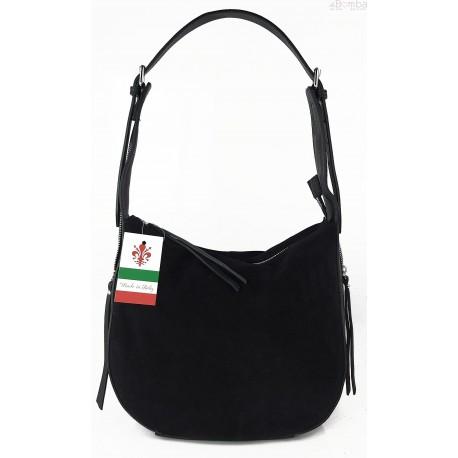Włoska skórzana torebka worek na ramię Vera Pelle ,,format A4, Czarna LBB53N