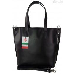 Włoska torebka skórzana na ramię ,shopper mieści A4 ,Vera Pelle ,Czarna SB586N