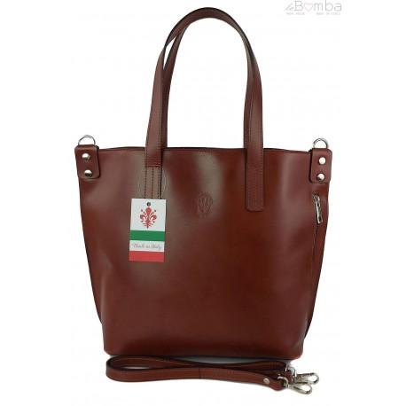 Włoska torebka skórzana na ramię ,shopper mieści A4 ,Vera Pelle ,Brązowa SB586M