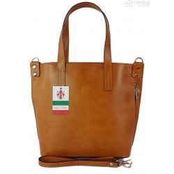 Włoska torebka skórzana na ramię ,shopper mieści A4 ,Vera Pelle ,Camel SB586C