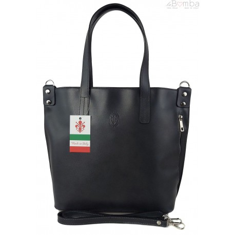Włoska torebka skórzana na ramię ,shopper mieści A4 ,Vera Pelle ,Szara SB586G