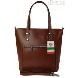 Włoska skórzana klasyczna torebka na ramię Vera Pelle ,format A4, Brązowa VBZ66M