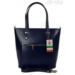 Włoska skórzana klasyczna torebka na ramię Vera Pelle ,format A4, Granatowa VBZ66BS