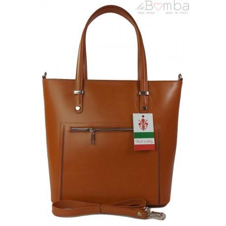 Włoska skórzana klasyczna torebka na ramię Vera Pelle ,format A4, Camel VBZ66C