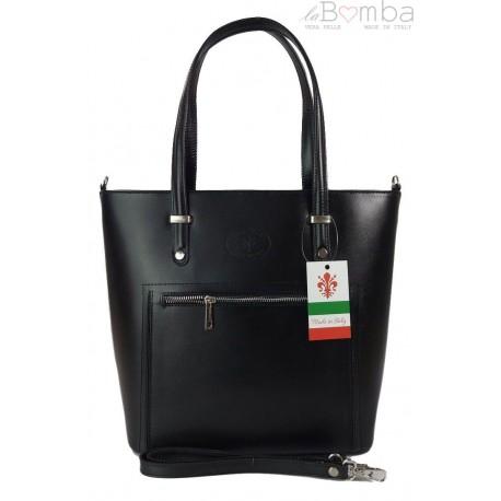 Włoska skórzana klasyczna torebka na ramię Vera Pelle ,format A4, Czarna VBZ66N