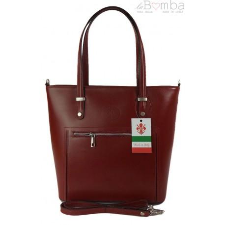 Włoska skórzana klasyczna torebka na ramię Vera Pelle ,format A4, Czerwony VBZ66R