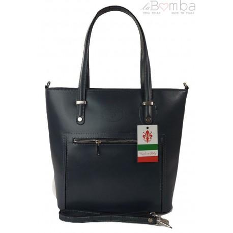 Włoska skórzana klasyczna torebka na ramię Vera Pelle ,format A4, Szara - Grafit VBZ66G