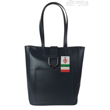 Duży shopper bag na ramię Vera Pelle , Włoska skórzana torba Szara - Grafit SBKB11G