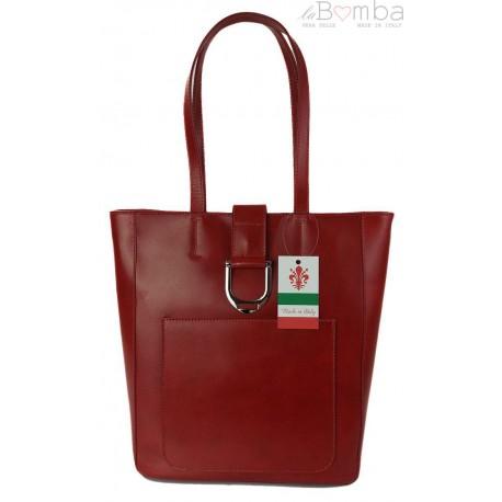 Duży shopper bag na ramię Vera Pelle , Włoska skórzana torba Czerwona SBKB11R