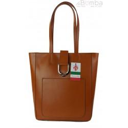 Duży shopper bag na ramię Vera Pelle , Włoska skórzana torba Camel SBKB11C