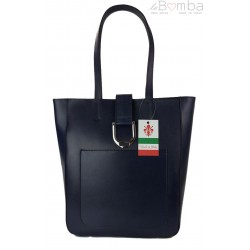 Duży shopper bag na ramię Vera Pelle , Włoska skórzana torba Granatowa SBKB11BS