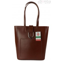 Duży shopper bag na ramię Vera Pelle , Włoska skórzana torba Brązowa SBKB11M