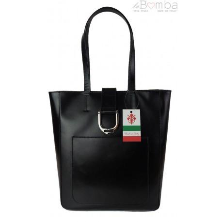 Duży shopper bag na ramię Vera Pelle , Włoska skórzana torba Czarna SBKB11N